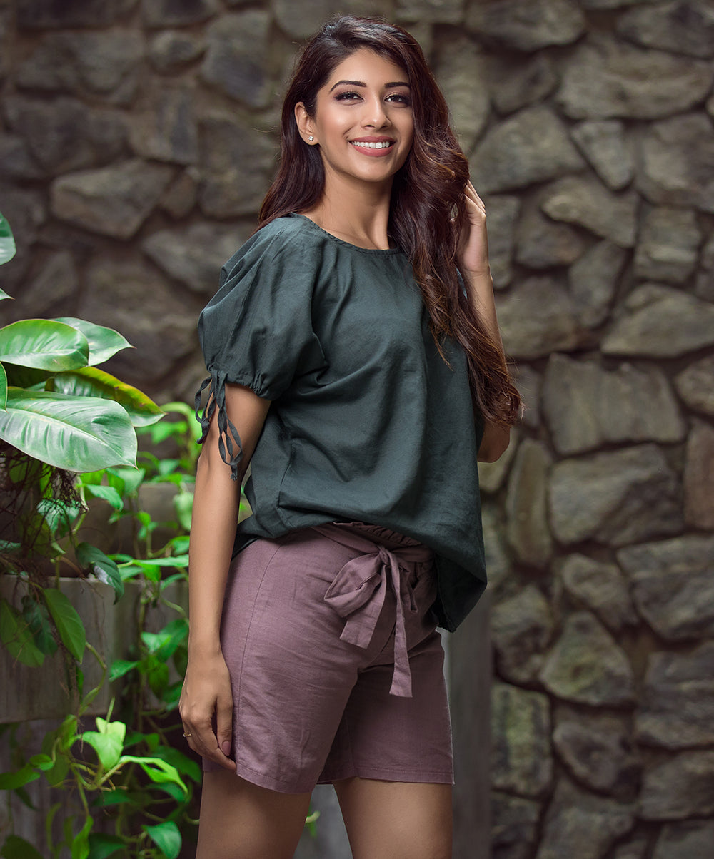 Sleeve Knot Dark Green Linen Baggy Top