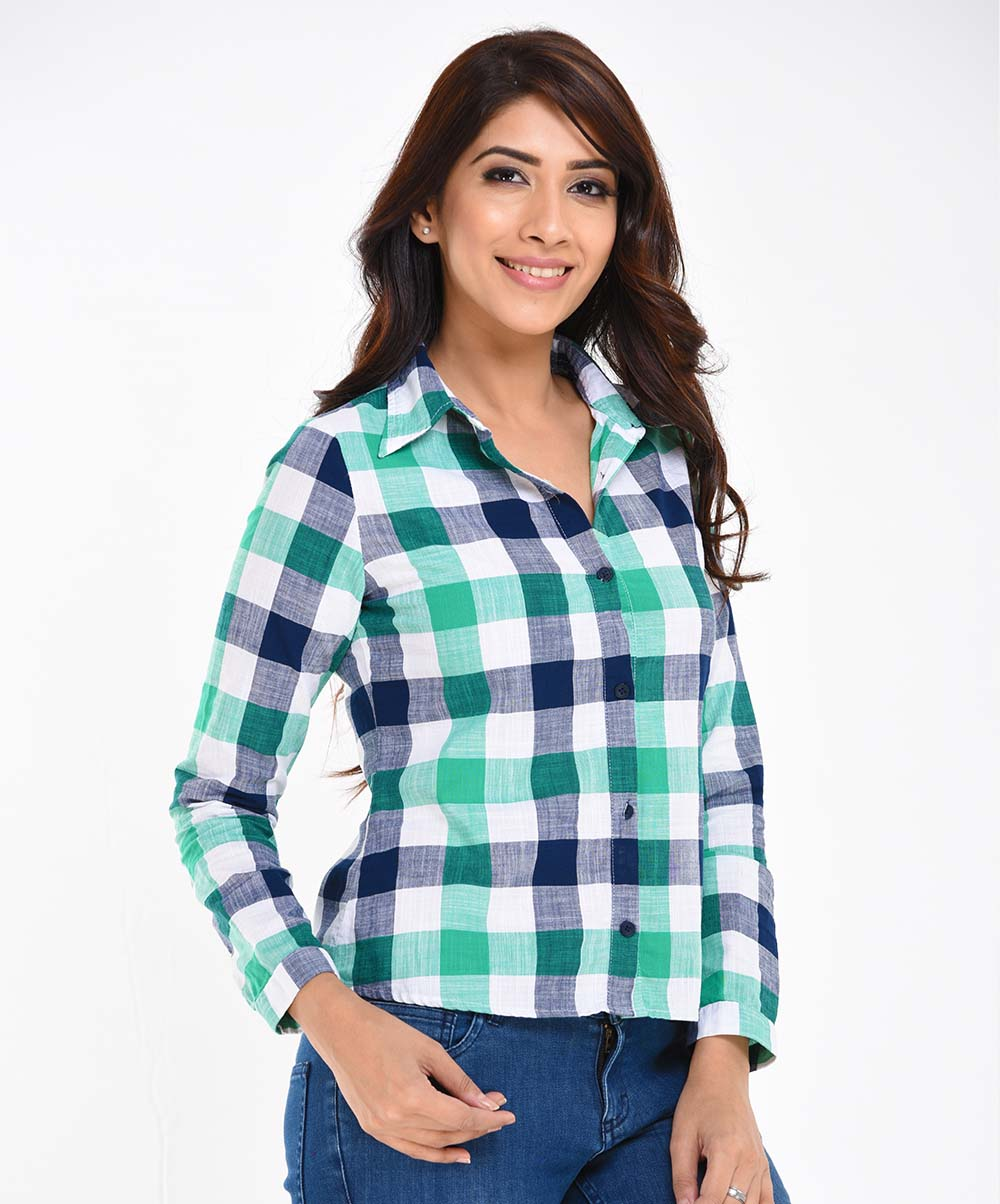 Green Check Printed Shirt