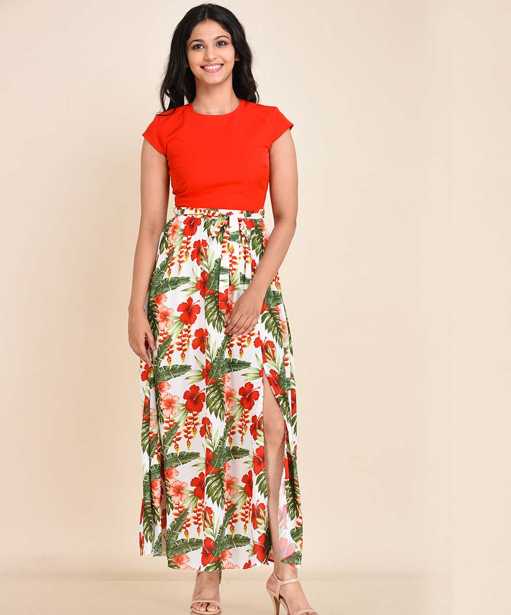 Floral Printed Red Dress