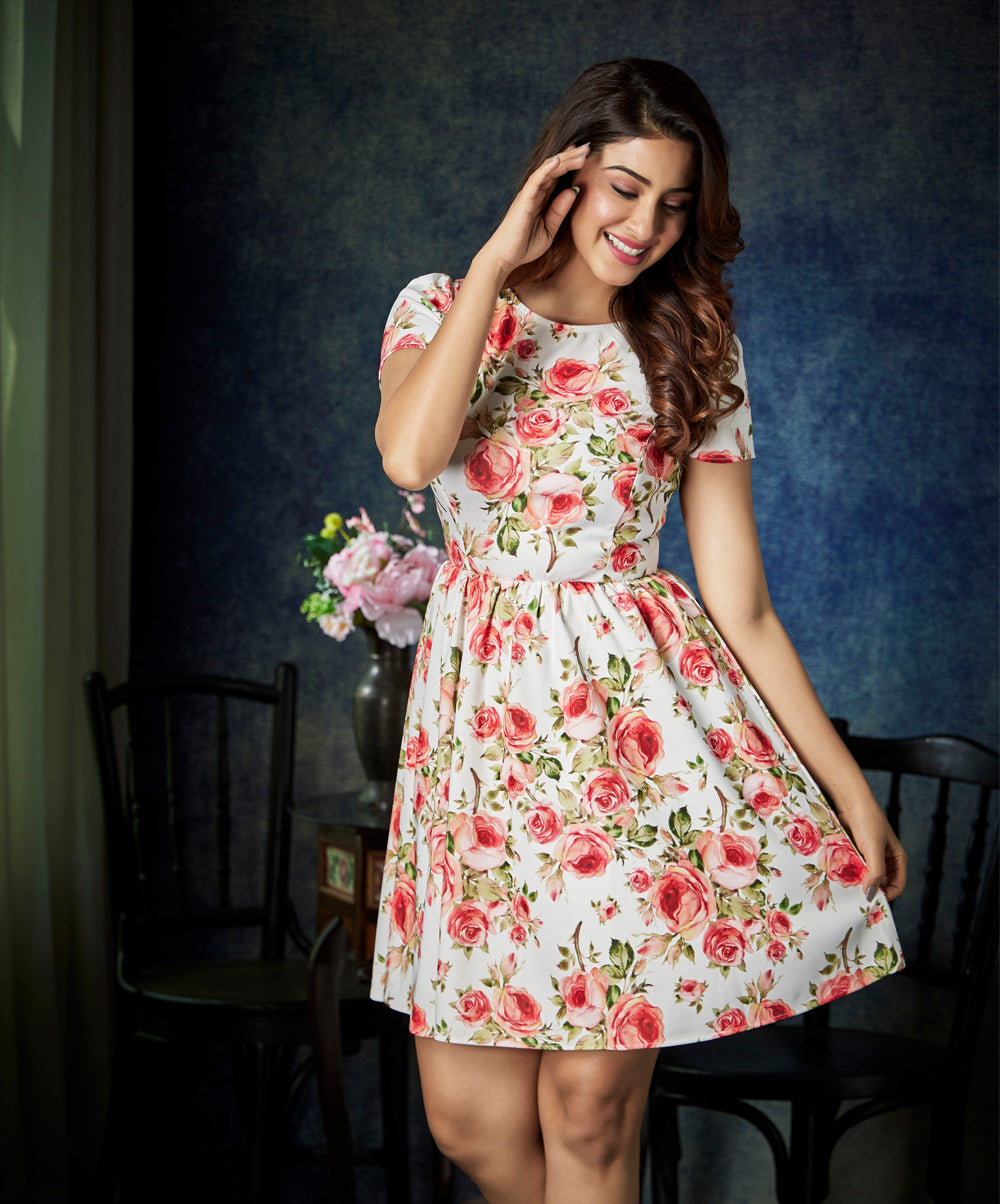 Floral Gathered Knee Length Dress