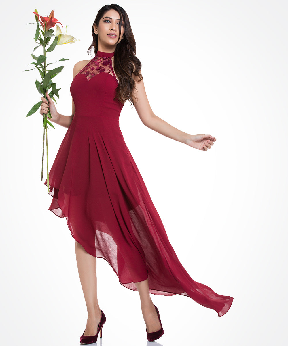 Red Clara Side High Low Dress