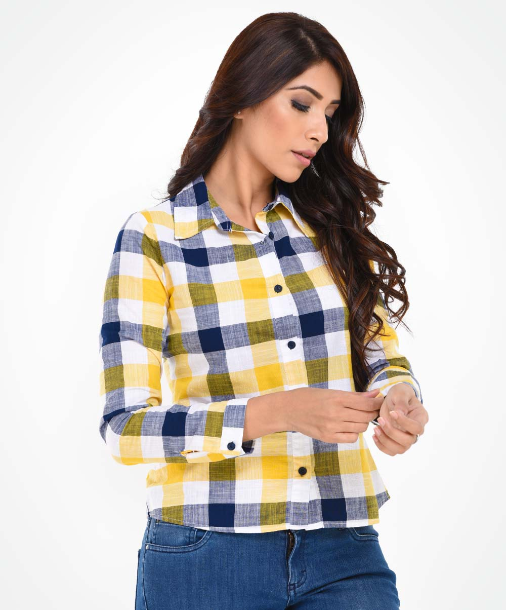 Yellow Check Printed Shirt