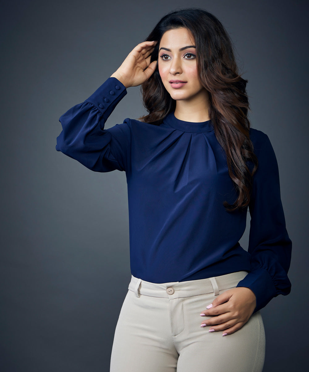 Navy Blue Solid Ruched Keyhole Back Blouse