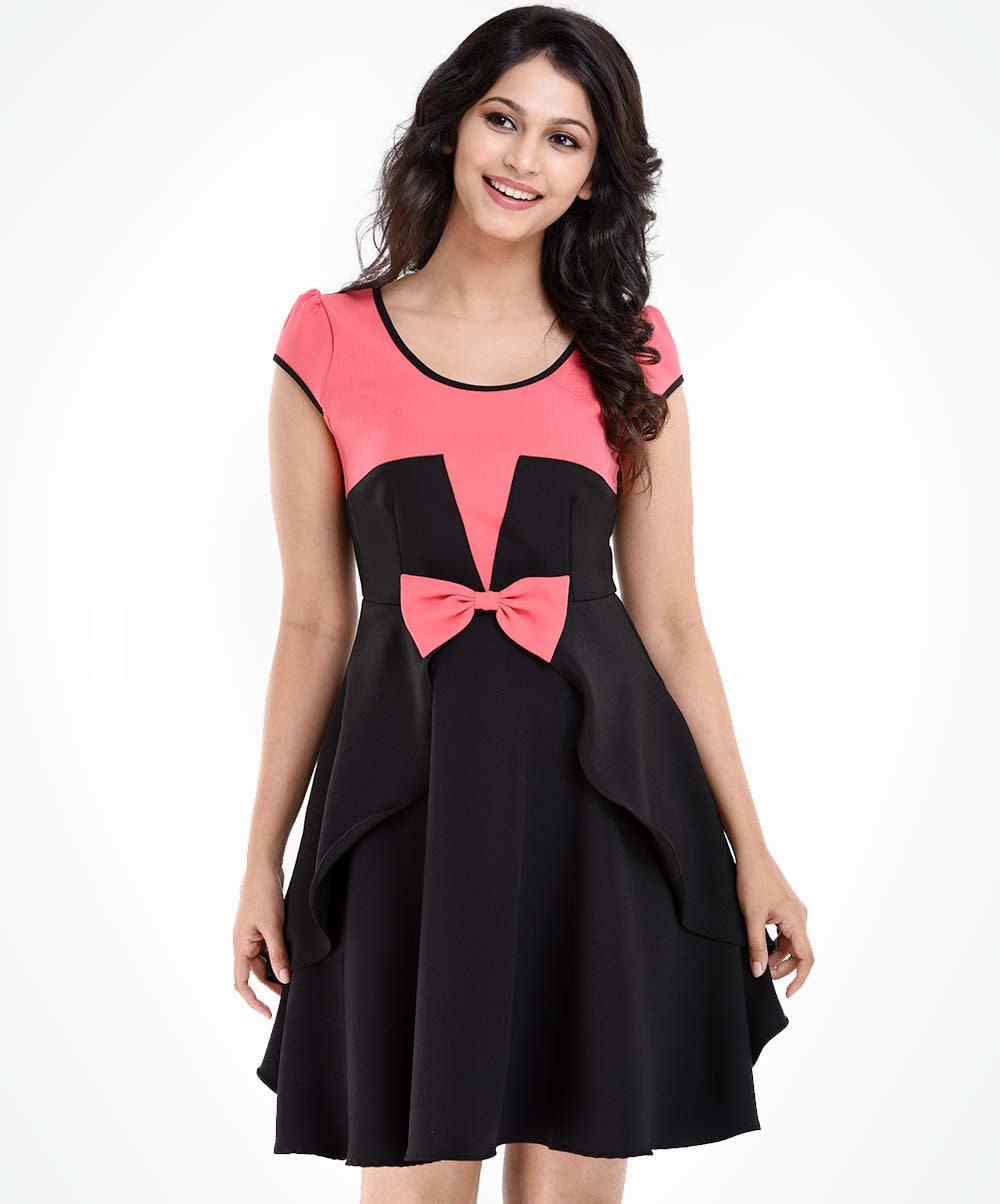 Gianna Pink Bow Contrast Dress