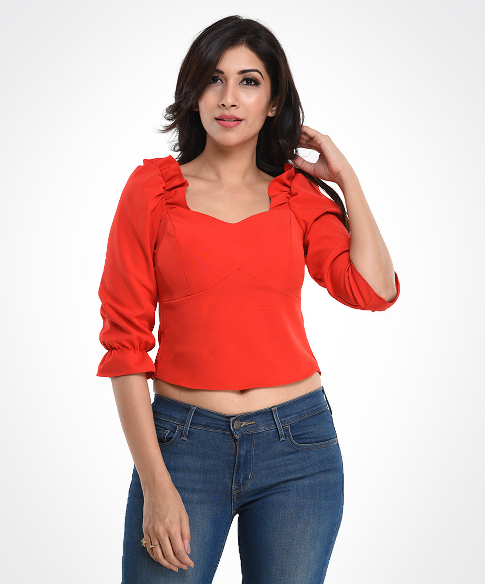 Red Bra Cut Long Sleeve Top