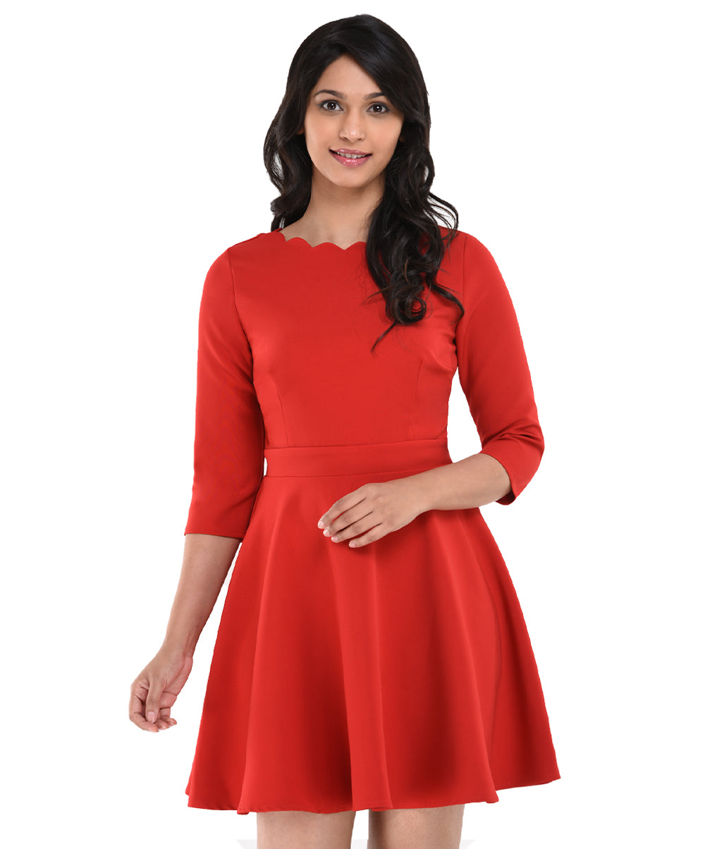 Camila Neck Scalloped Red Skater Dress