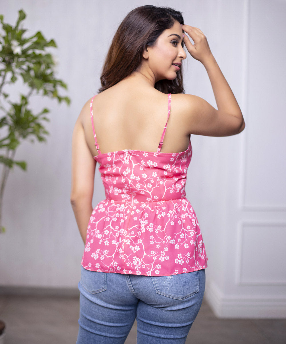 Pink Floral Wave Spaghetti Top