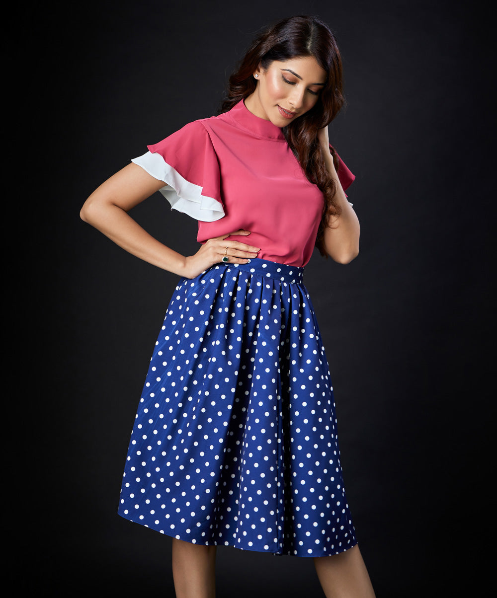 Pleated Polka Dotted Skirt
