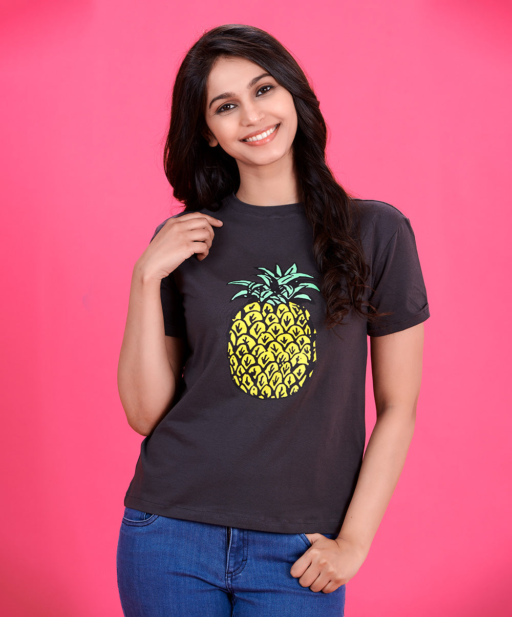 Grey Pineapple Printed T-Shirt