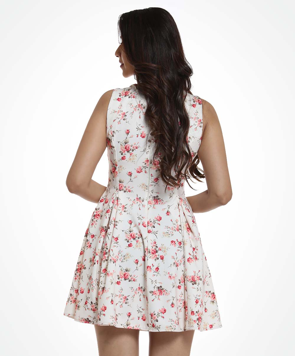 White Base Micro Floral Sleeveless Dress