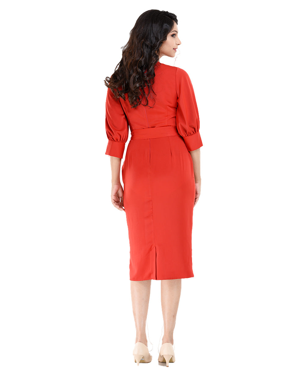 Red Grace Volume Sleeve Midi Dress