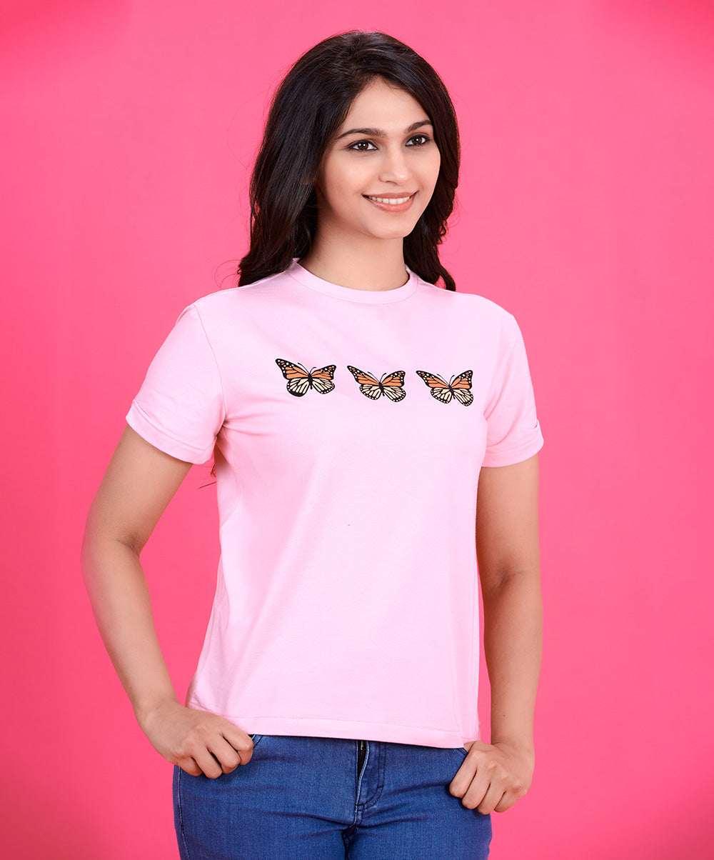 Butterfly Printed Pink T-Shirt
