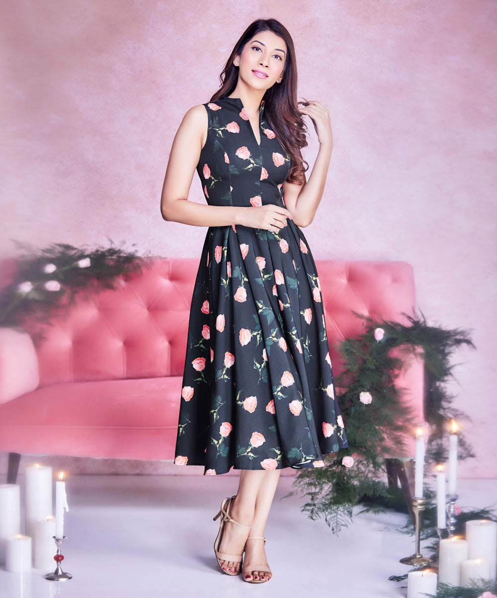 Single Floral Neck Deep Dress Midi Dress