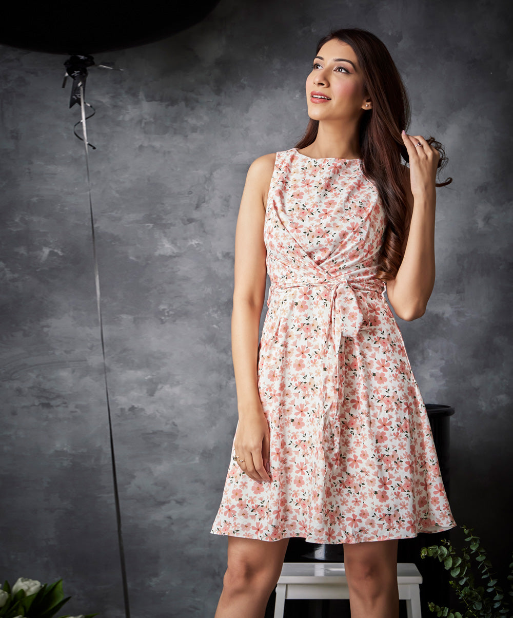 Simple Over Lapping Printed Vintage dress
