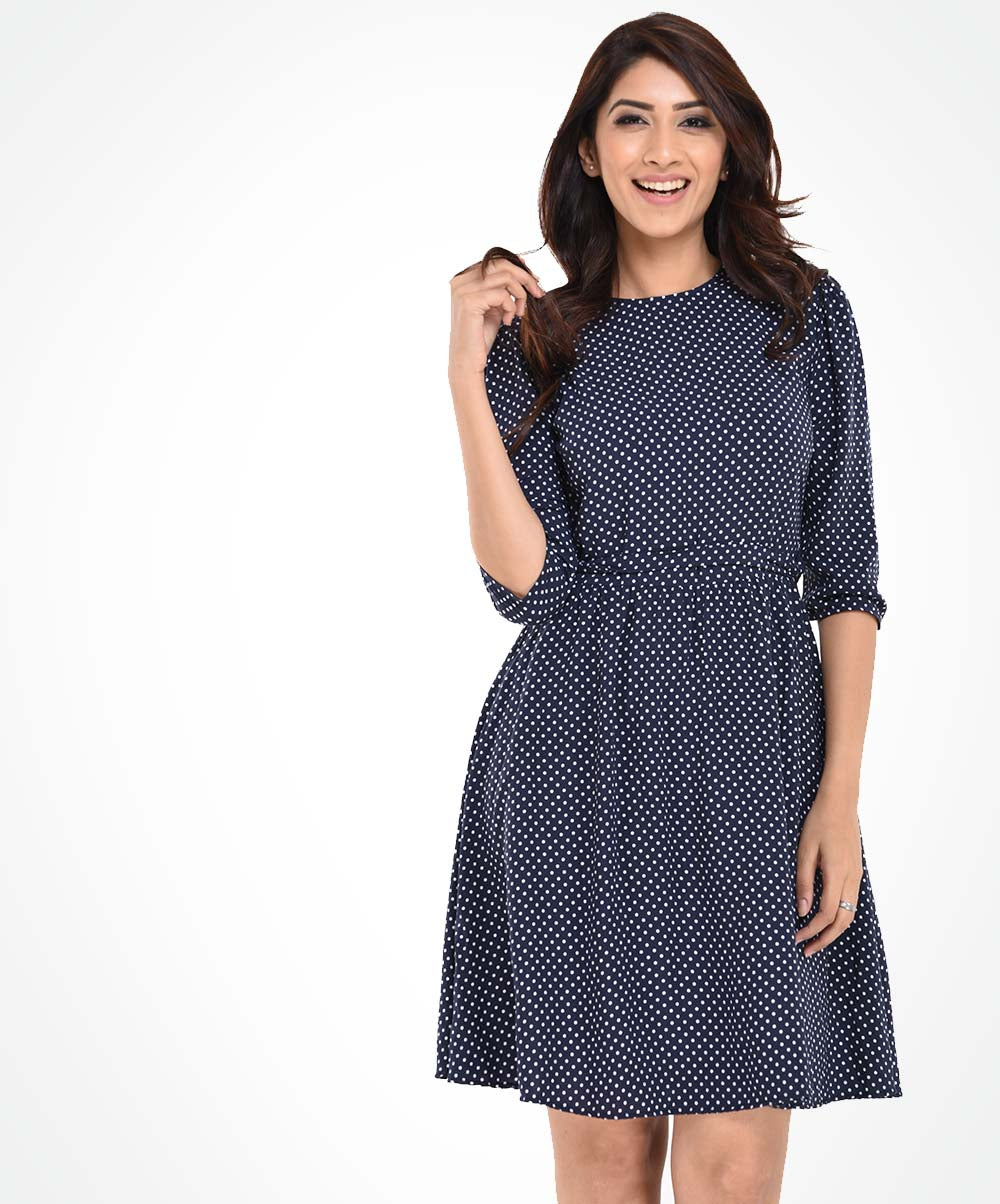 Navy Blue Dotted Waist Tie Dress