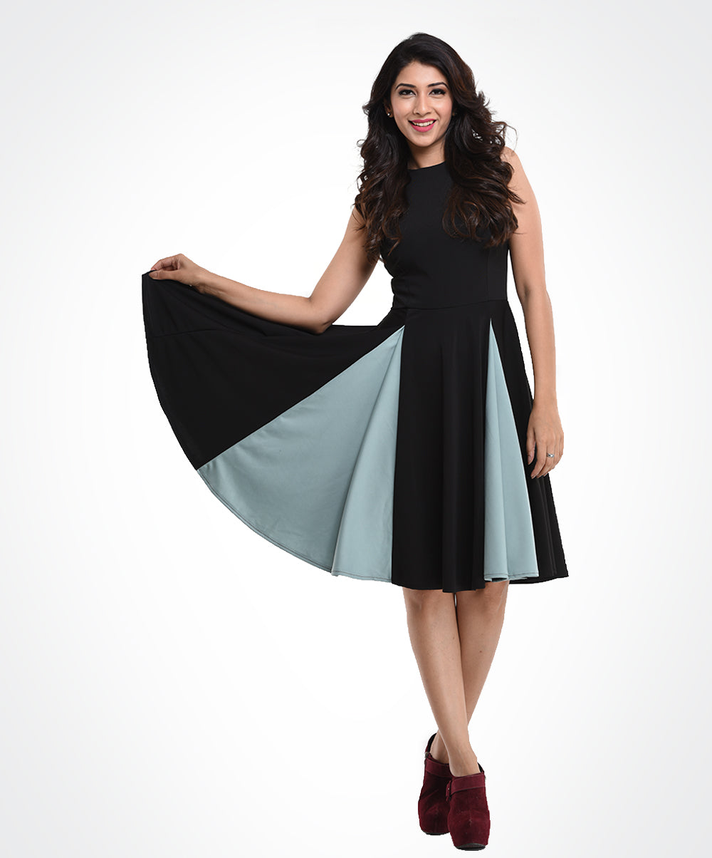 Black & Grey Panelled Dress