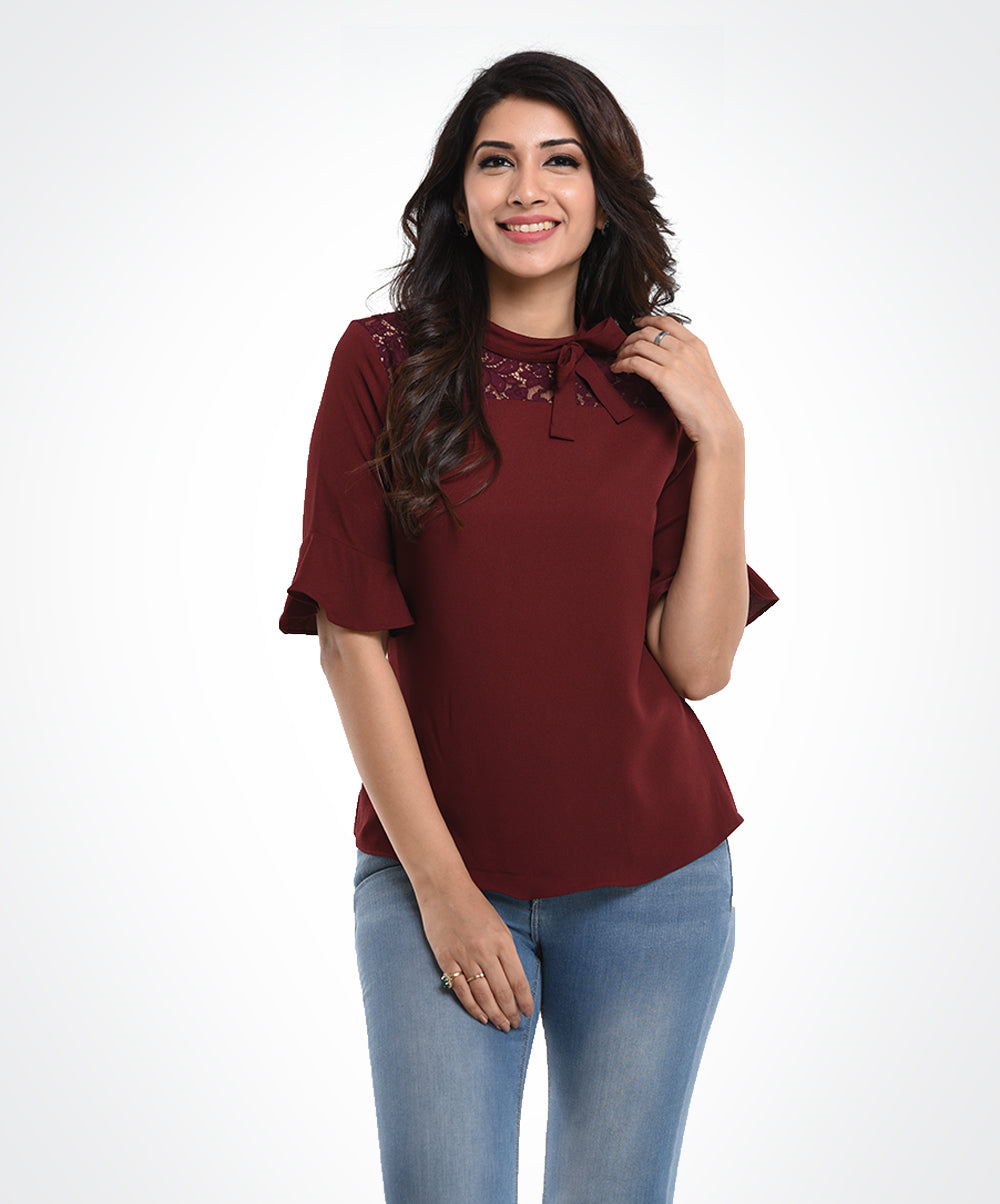 Maroon Lace Work Top