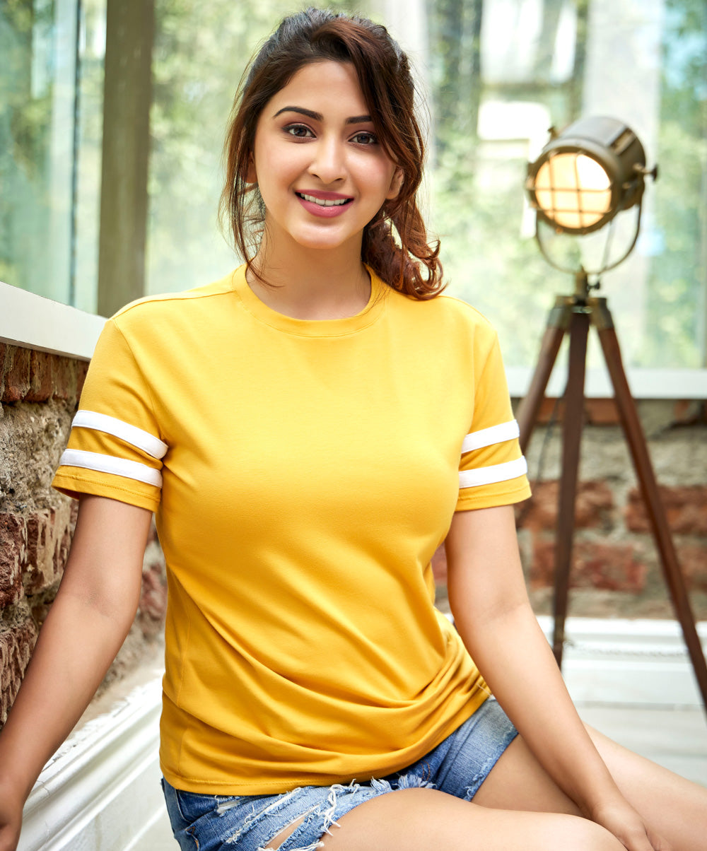Mustard And White Contrast Sleeve T-Shirt