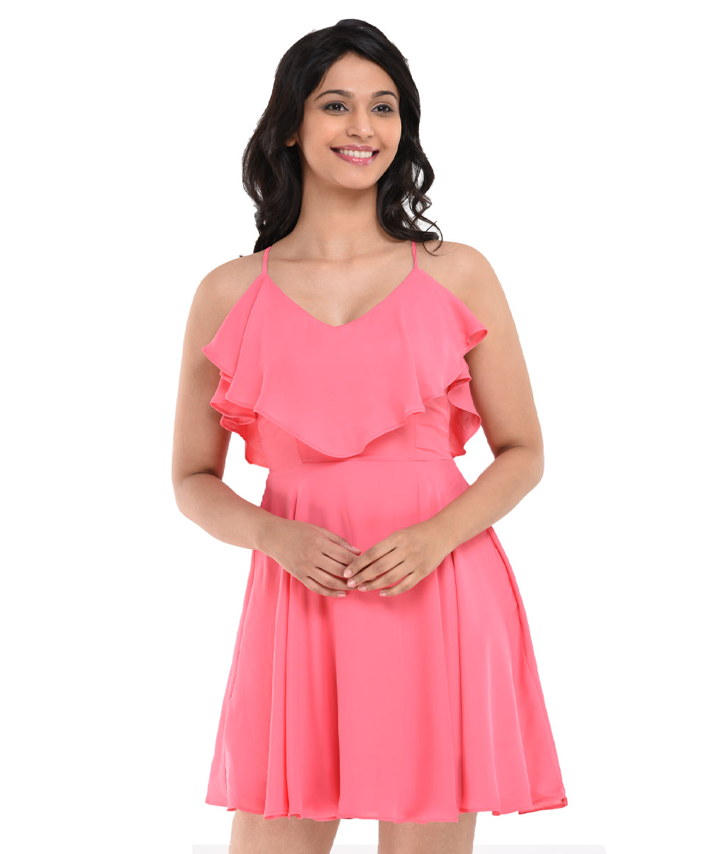 Pink Adalee Double Frilled Skater Dress