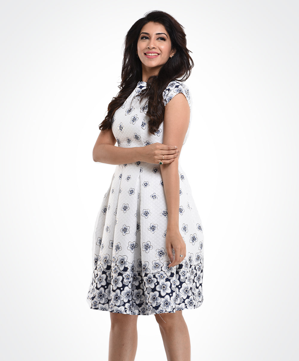 White Jacquard Floral Dress