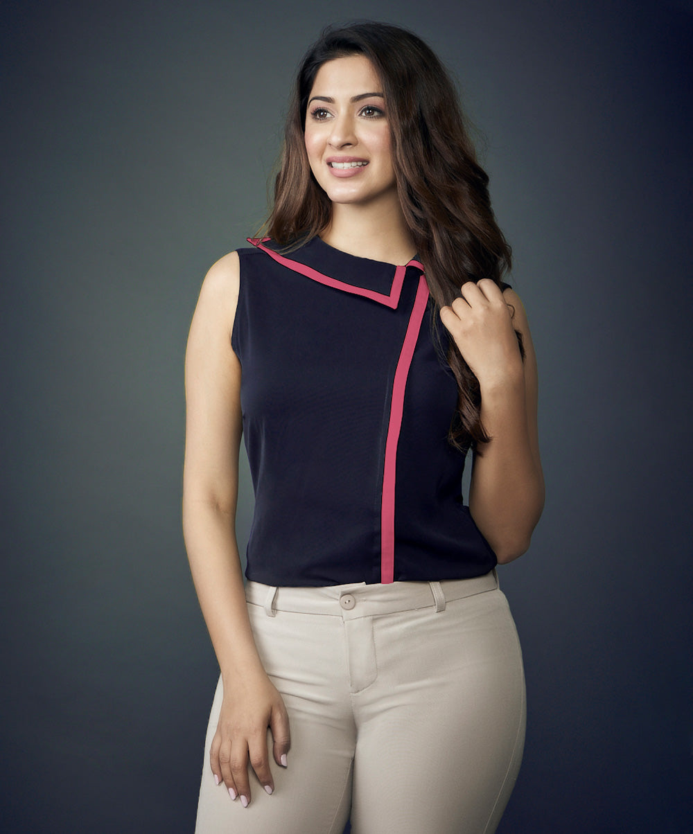 Collar and Side Contrast Work Wear Top