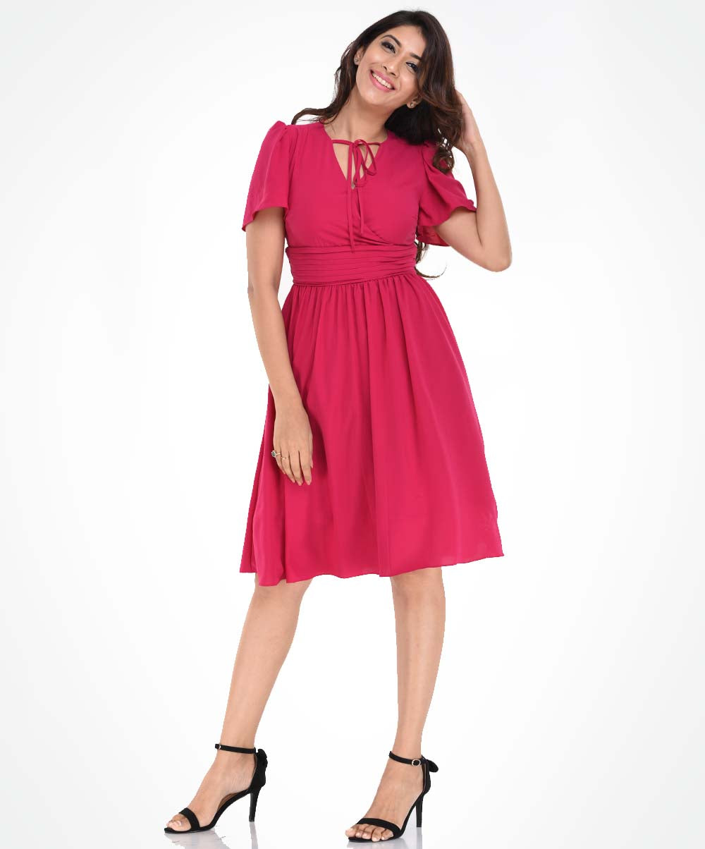 Front Neck Tie Hot Pink Flared Dress