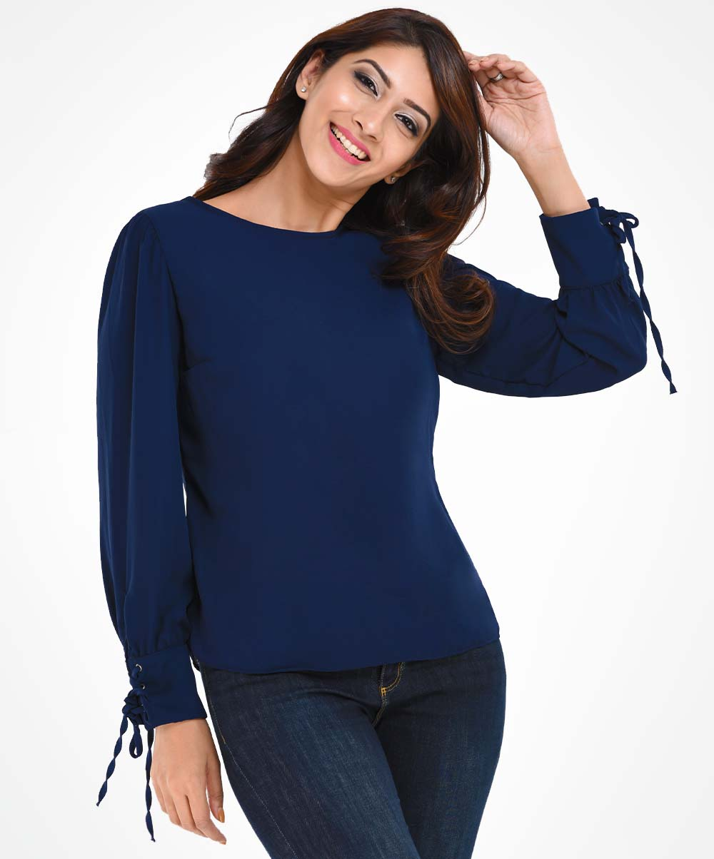 Dark Blue Long Sleeved Top