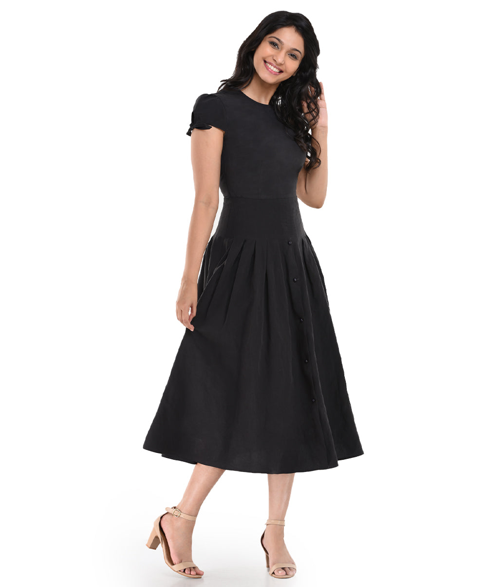 Waist Pleated Tensil Dress