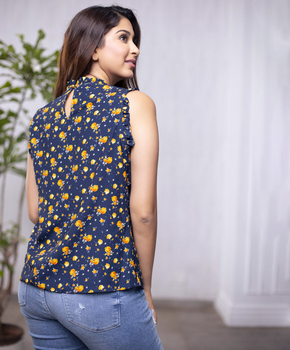 Sleeveless Micro Floral Top