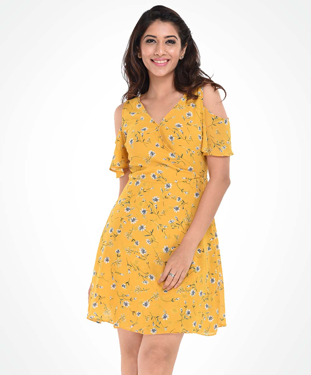 Yellow Printed Summer Dress