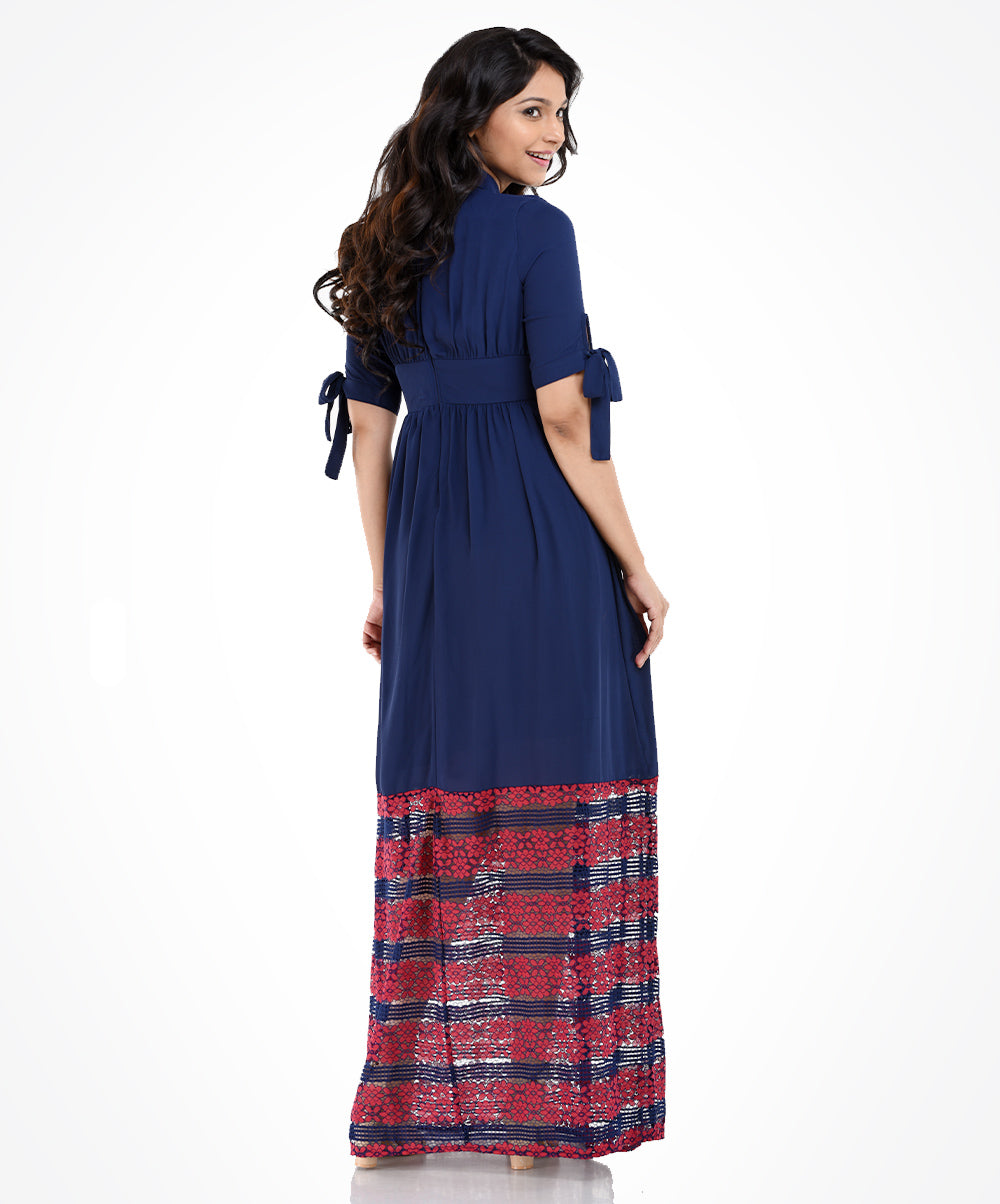 Claire Dark Blue & Red Lace Maxi Dress