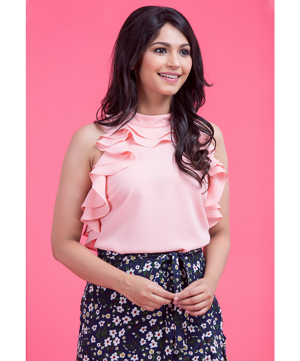 Pink Dulcia Ruffle Sleeveless Top