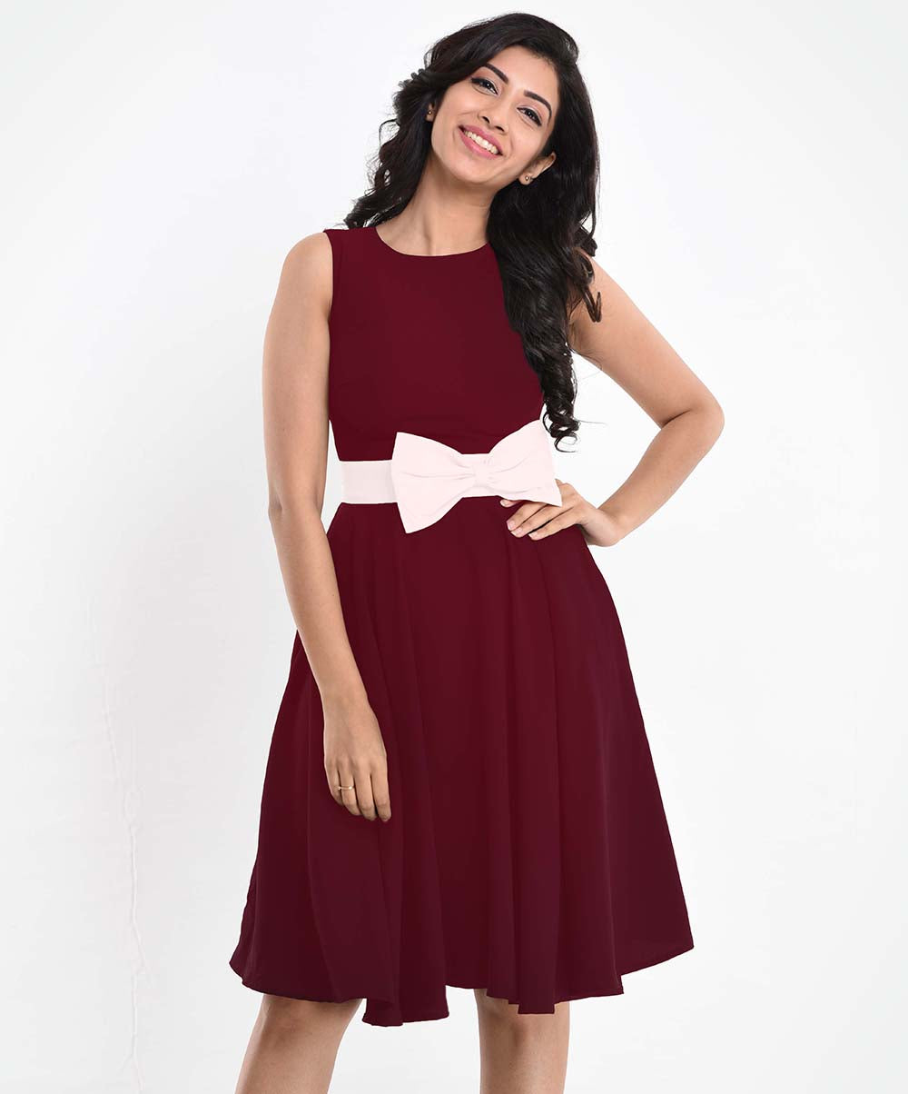 White Bow Maroon Dress