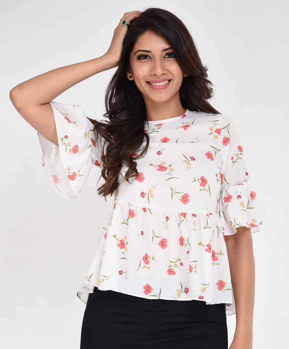 White Micro Floral Casual Top