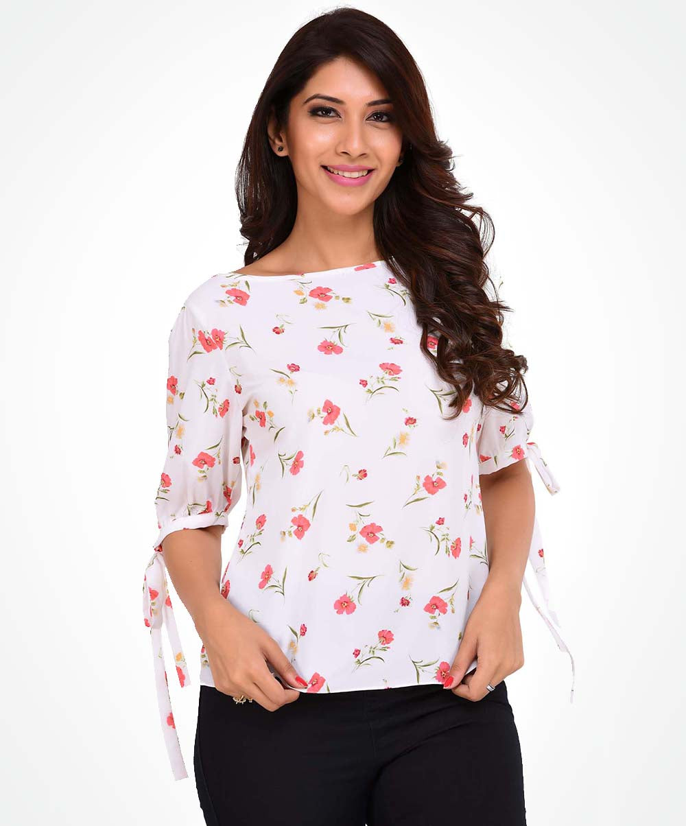 White Base Floral Print Tie Up Top