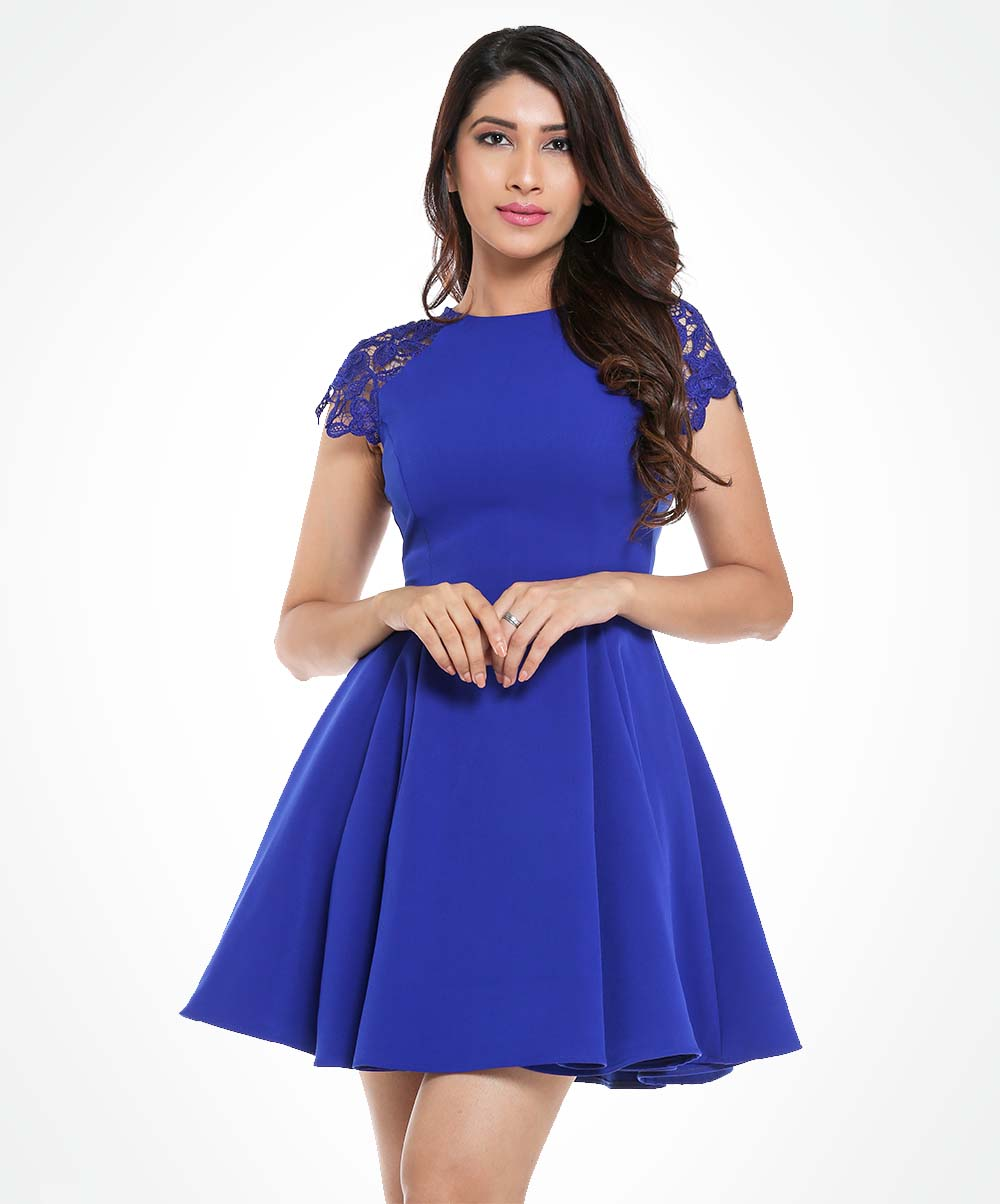 Blue Lace Sleeved Dress