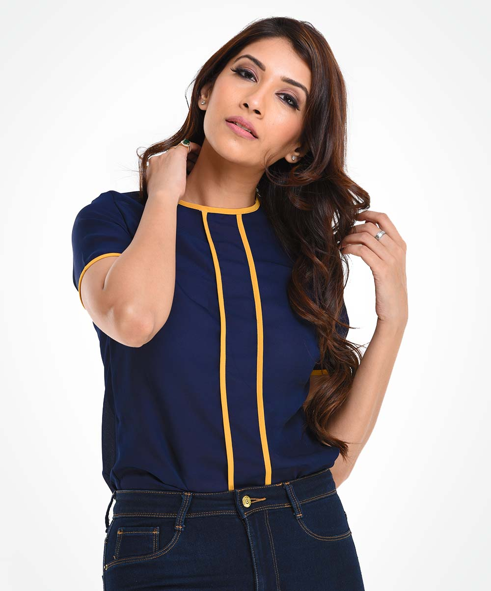 Navy Blue Piping Detailed WW Top