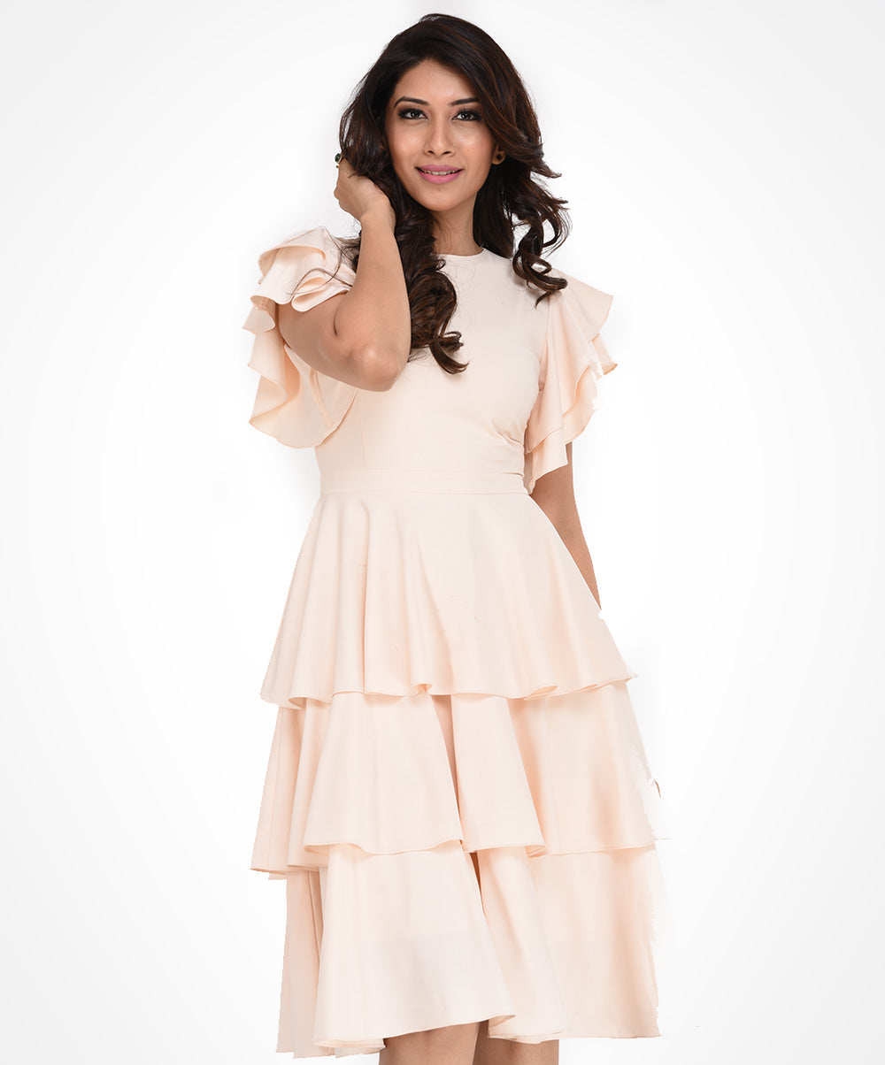 Off White Frilled Dress