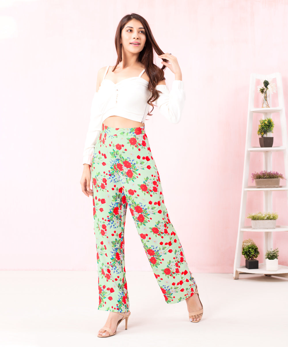 Floral Printed Flared Pant