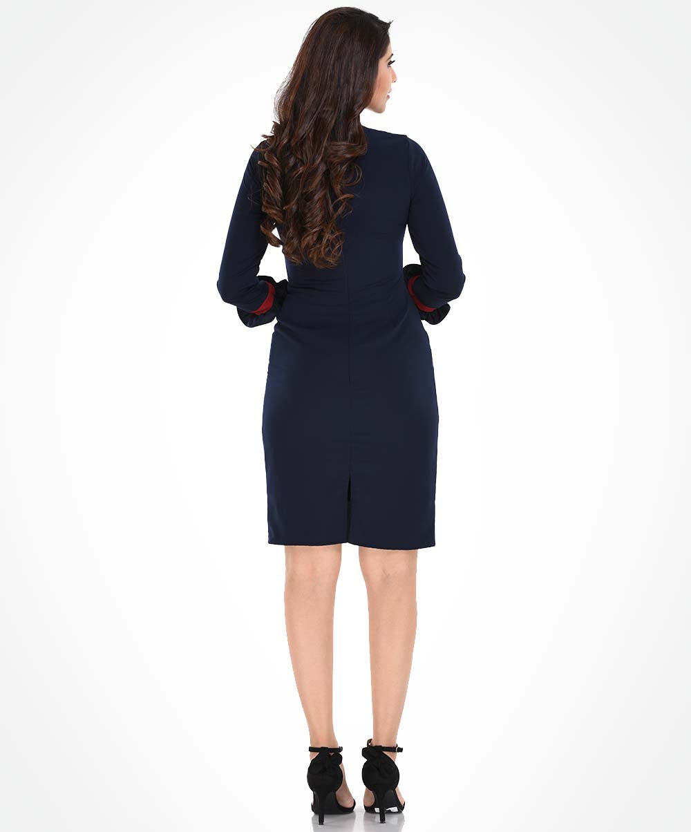 Navy Blue Frilled Hem Sleeved Dress
