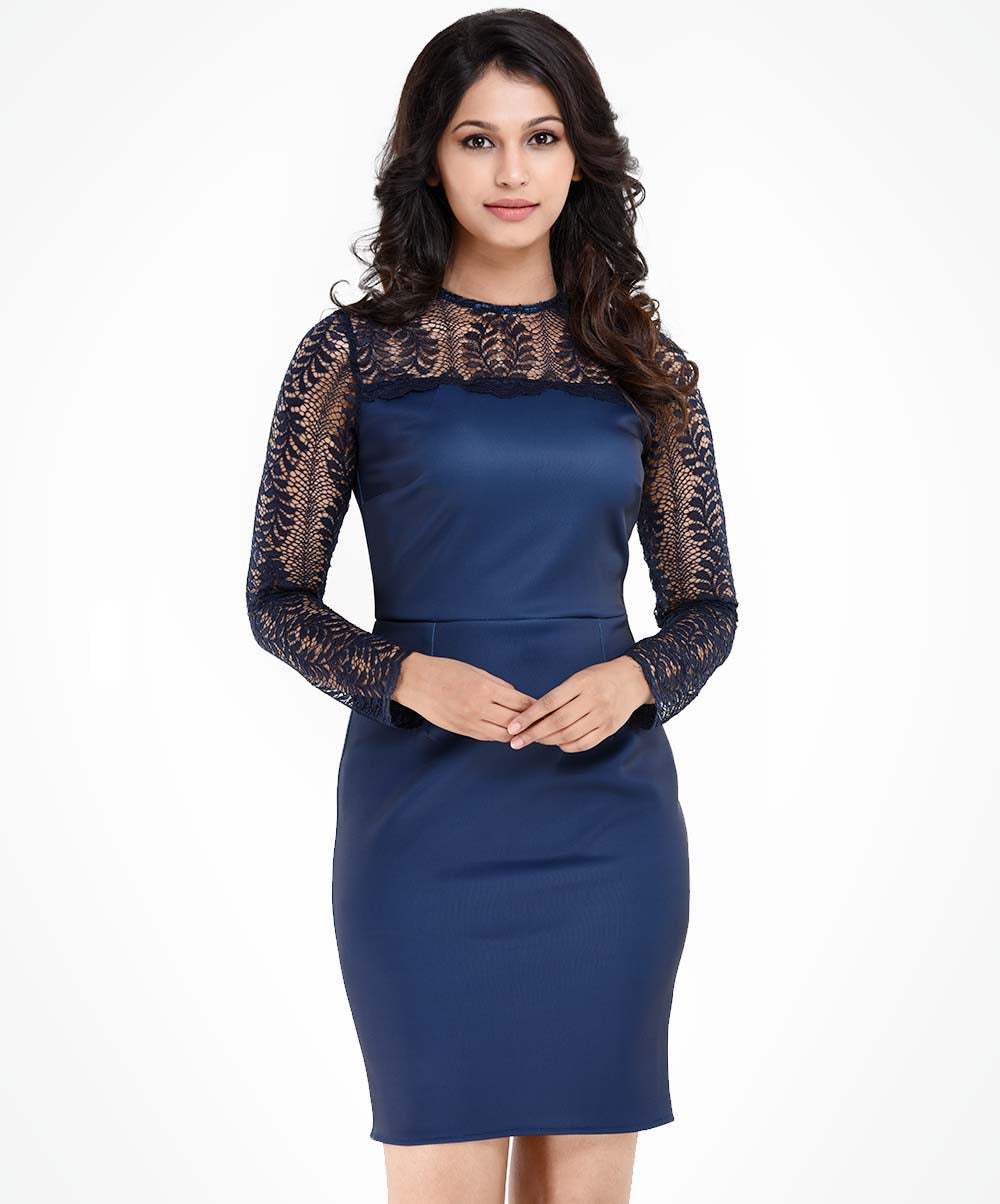Vivian Blue Lace Detail Bodycone Dress