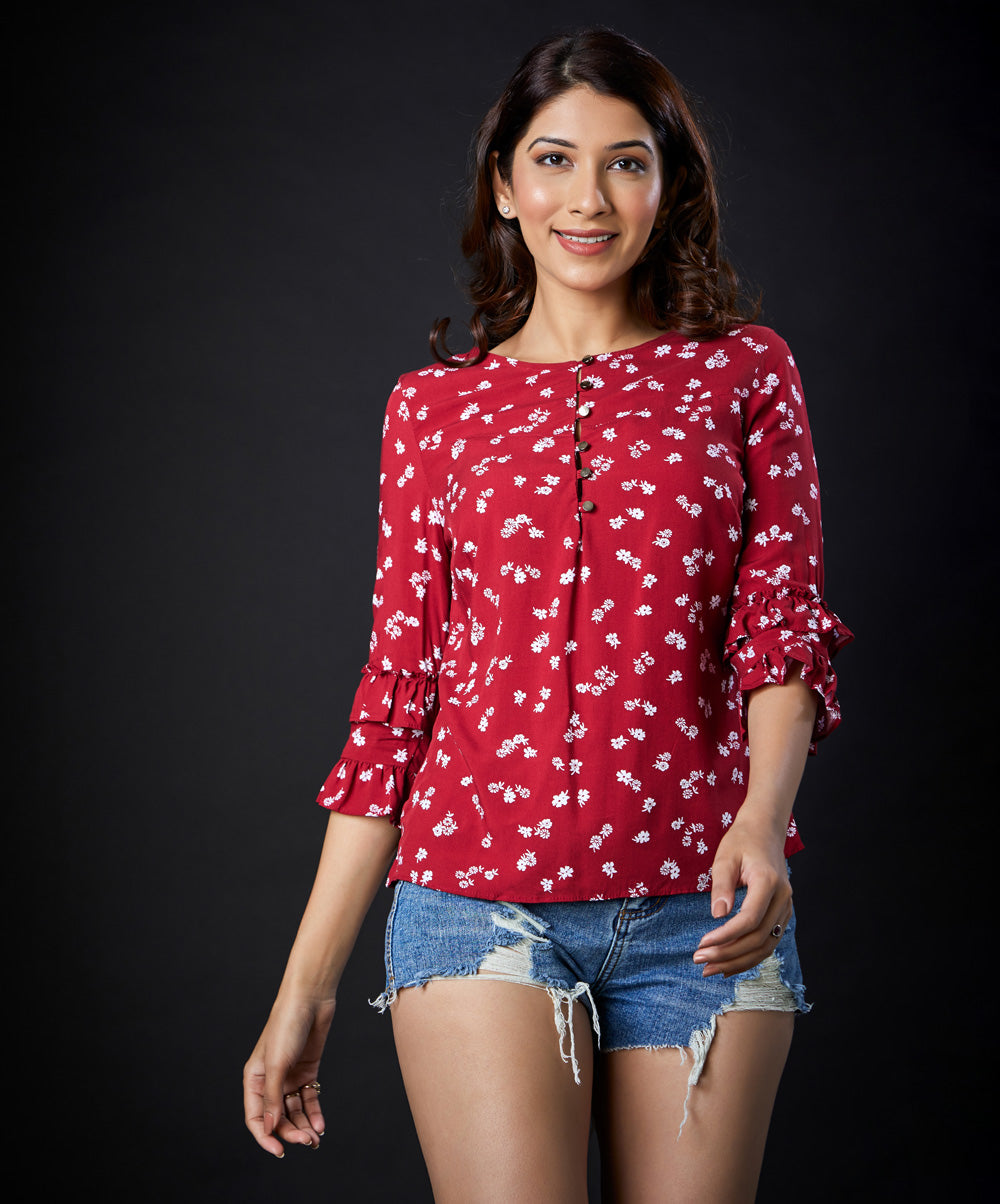 Frilled Half Sleeve Viscose Top