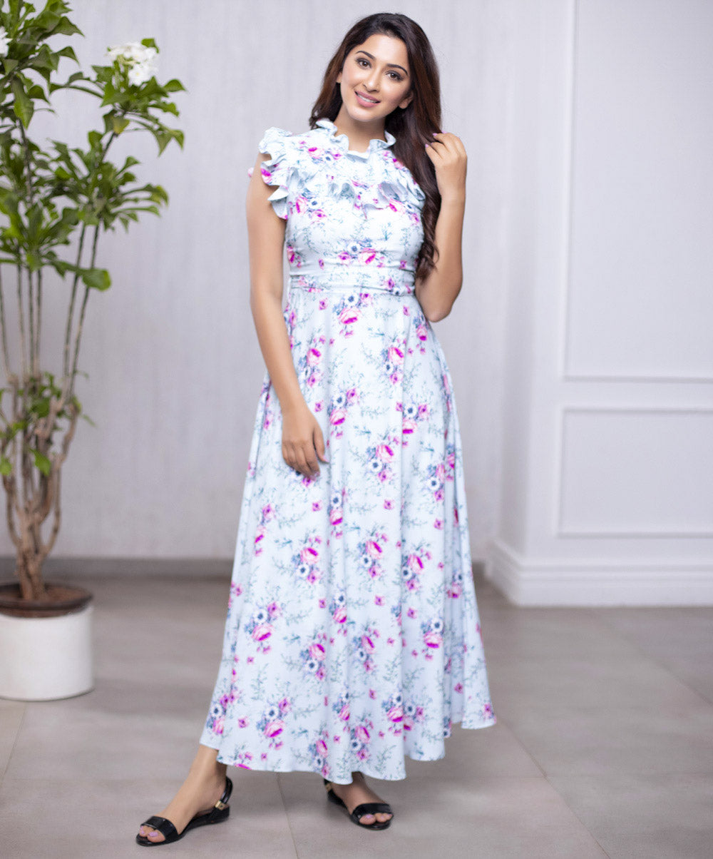 Pastel Floral Ankle Length Dress