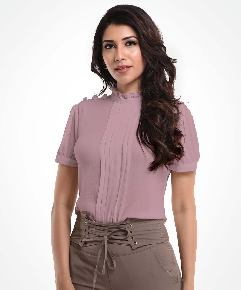 Light Pink Buttoned Shoulder Top