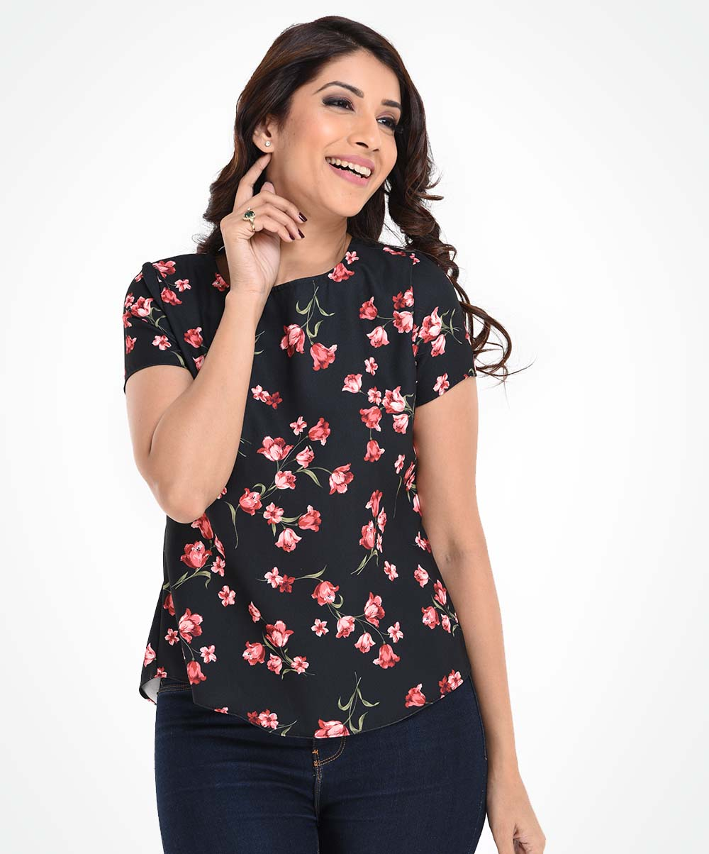 Floral Black Base Top