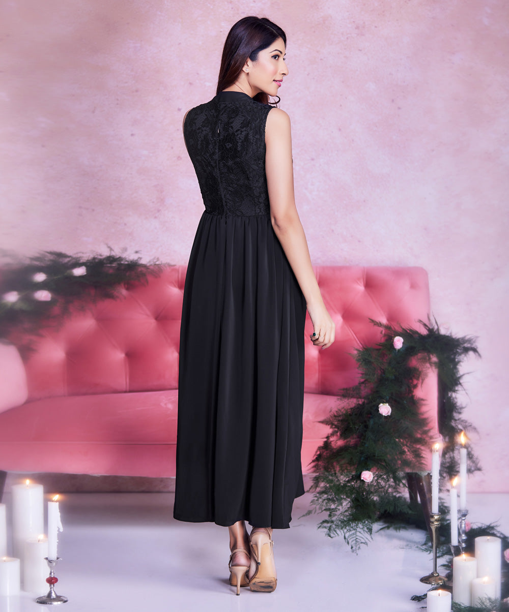 Lace Mixed Ankle Length Black Dress