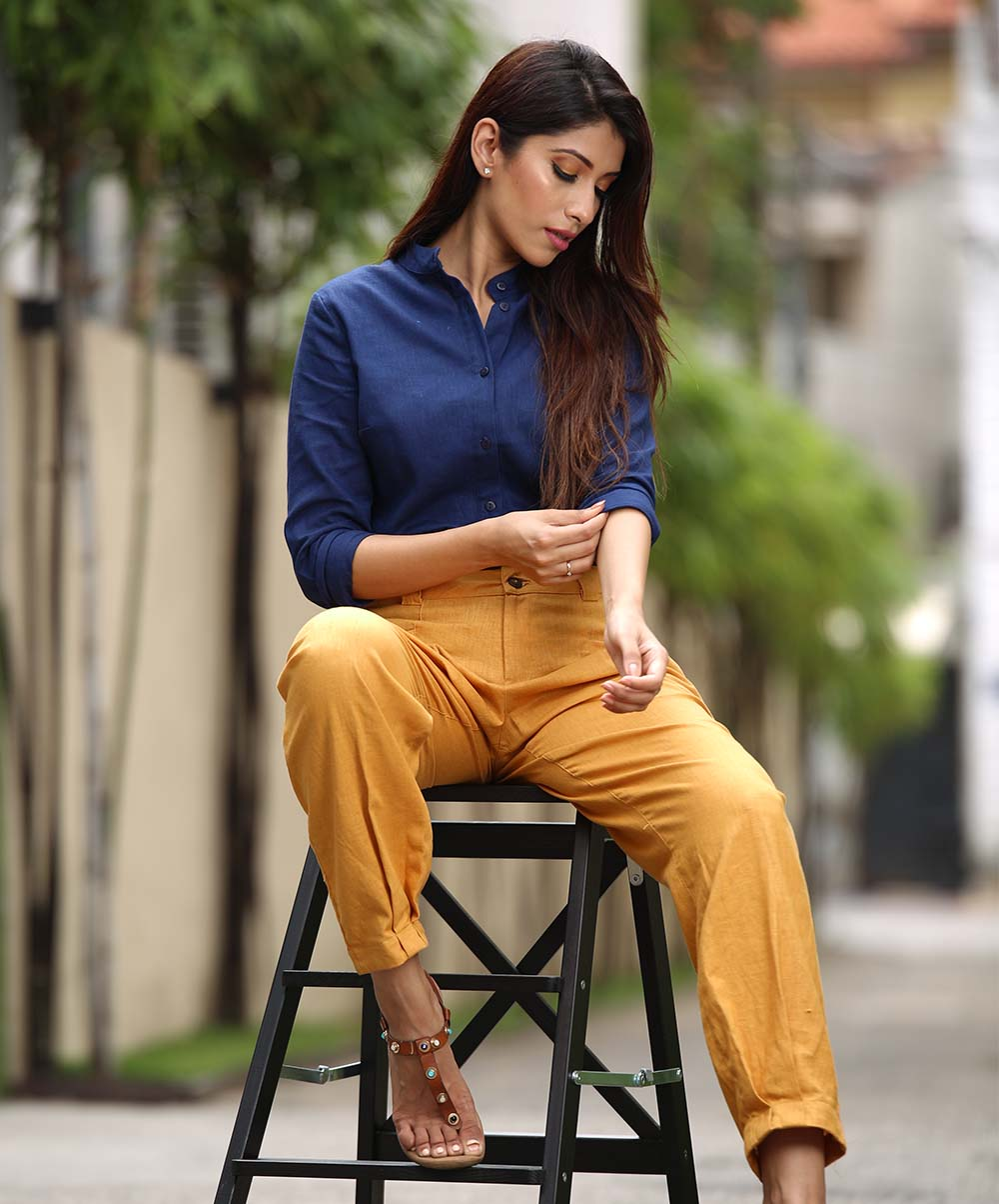 Mustard Frilled Detailed Pant