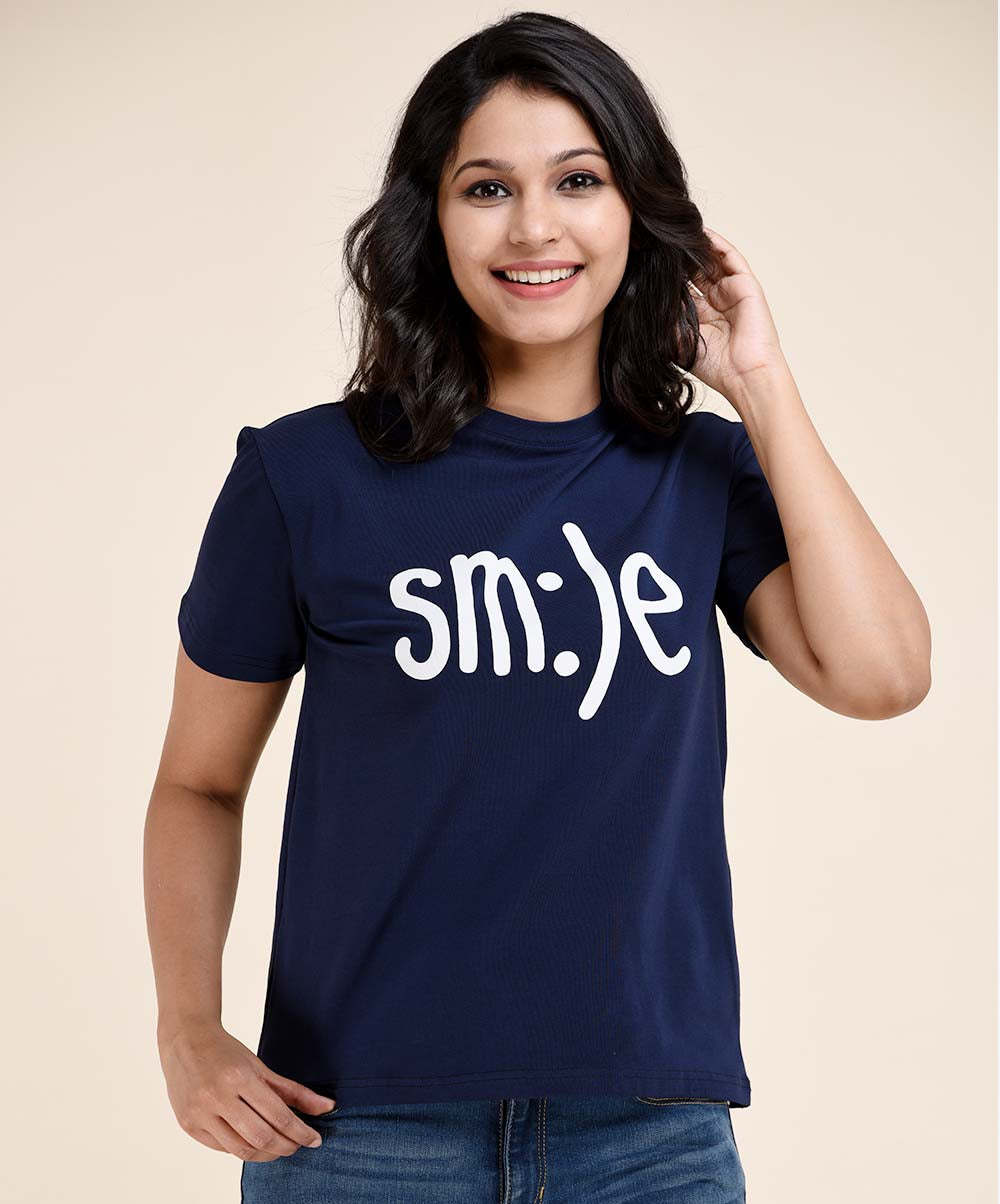 Navy Blue SMILE Printed T-Shirt