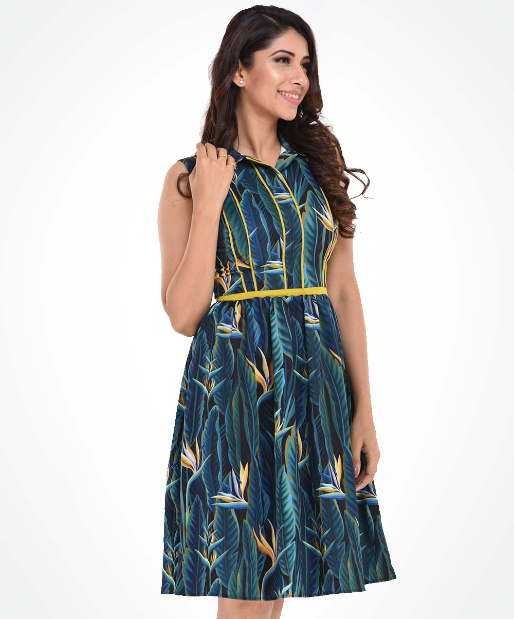 Peacock Blue Printed Dress