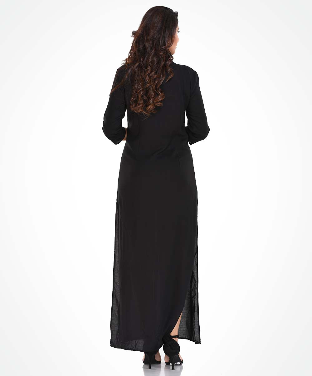 Black Button Up Side Slit Maxi Dress